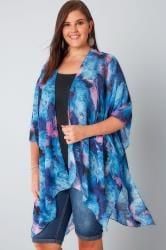 Blue & Pink Smudge Print Kimono