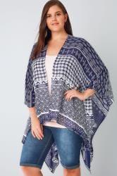 Blue & White Butterfly & Tile Print Lightweight Woven Wrap