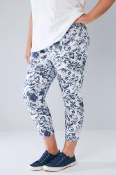 Blue & White Floral Print Pull On Stretch Cropped Jeggings
