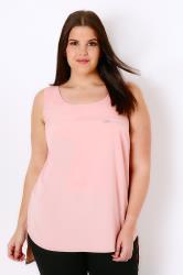 Blush Pink Dipped Hem Top With Zip Pocket Detail