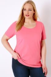 Bubblegum Pink Scoop Neck Basic T-Shirt