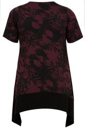 Burgundy Floral Print Hanky Hem Top With Black Border