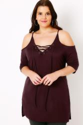 Burgundy Lace Up Top With Cold Shoulder Cut Outs
