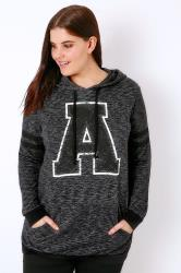 """Charcoal Grey Varsity """"A"""" Hooded Sweat Top"""