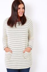 Cream & Blue Stripe Pocket Front Tunic Jumper
