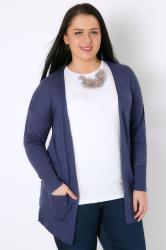 Denim Blue Longline Cardigan With Pointelle Pocket & Cuff Detail