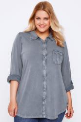 Denim Blue Washed Cotton Jersey Long Sleeve Shirt