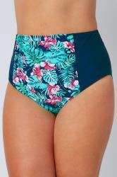 Green & Blue Tropical Orchard Print High Waisted Bikini Brief