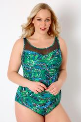 Green & Multi Jungle Print Swimsuit With Mesh Insert
