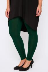 "Green Viscose Elastane Leggings - 28"" Leg"