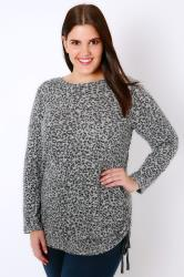 Grey Animal Print Knitted Top With Ruched Sides