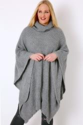 Grey Knitted Cowl Neck Poncho
