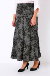 Grey Marl & Black Floral Print Jersey Maxi Skirt With Panel Detail