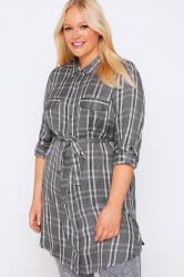 Grey & Pink Checked Button Through Longline Shirt With Tie Waist