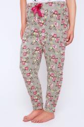 Grey & Pink Floral Print Pyjama Bottoms