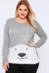 Grey & Silver Polar Bear Knit Christmas Jumper