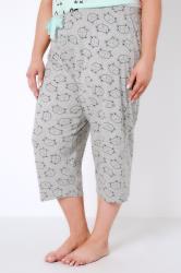 Grey Sleeping Cat Print Cropped Pyjama Bottoms