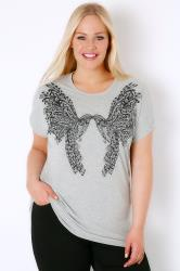 Grey Twin Bird Print Embellished T-Shirt