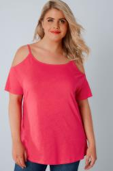 Hot Pink Strappy Cold Shoulder Jersey Top