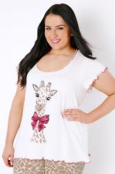 Ivory Pretty Giraffe Print Pyjama Top