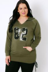 """Khaki & Black Sequin """"82"""" Hoodie With Ruched Sides"""