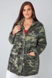 Khaki Camo Longline Jacket With Pockets & Rhinestone Embellishment