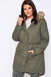 Khaki Twill Lined Parka With Fur Trim Hood