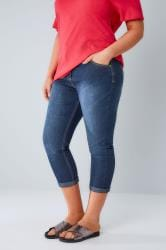 Mid Blue Denim Cropped Jeans