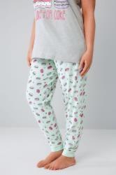 Mint & Multi Macaroon Print Pyjama Bottoms