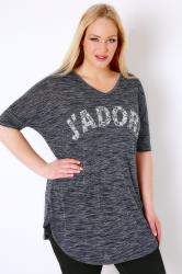 "Navy ""J'adore"" Paisley Print Top With V-Neck"