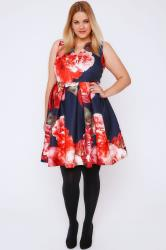 Navy & Multi Floral Print Skater Dress