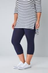 Navy Viscose Elastane Cropped Legging
