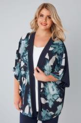 Navy & White Floral Smudge Print Slinky Kimono