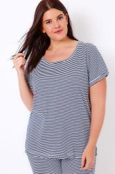 Navy & White Striped Jersey Pyjama Top