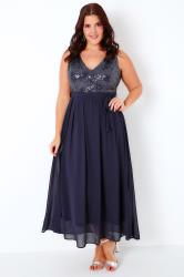 PRASLIN Navy Chiffon Sleeveless Maxi Dress With Sequin Bodice