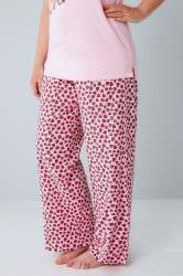 Pink Heart Print Pyjama Bottoms