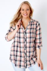 Pink, Ivory & Navy Checked Shirt With Pleat Detail