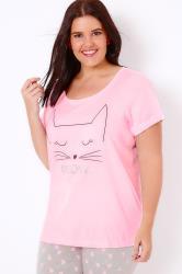 """Pink """"Meow"""" Cat Print Pyjama Top"""