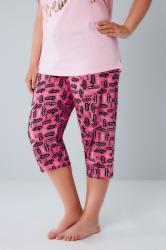 Pink Speech Bubble Print Cropped Pyjama Bottoms