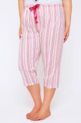 Pink Stripe Print Cropped Pyjama Bottoms