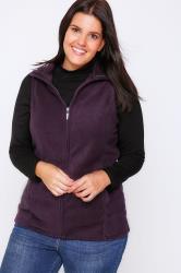 Purple Microfleece Gilet With Zip Front
