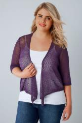 Purple Popcorn Crochet Cropped Shrug