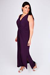 Purple V-Neck Maxi Dress With Twisted Knot Front Detail