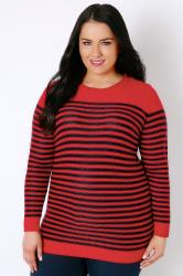 Red & Navy Stripe Knitted Jumper