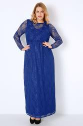 Royal Blue Lace Overlay Maxi Dress With Elasticated Waist
