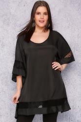 SCARLETT & JO Black Oversized Silky Tunic With Lace Trim