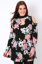 SIENNA COUTURE Black & Multi Rose Print Cold Shoulder Choker Top