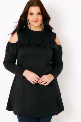 SIENNA COUTURE Black Ruffle Cold Shoulder Jersey Top