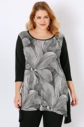 SIENNA COUTURE Black & White Mono Print Longline Top