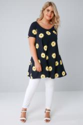 SIENNA COUTURE Navy Sun Flower Print Tunic Dress